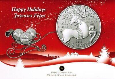 Canada 20 Dollars 2012 Happy Holidays Reindeer 1/4 Oz Silver