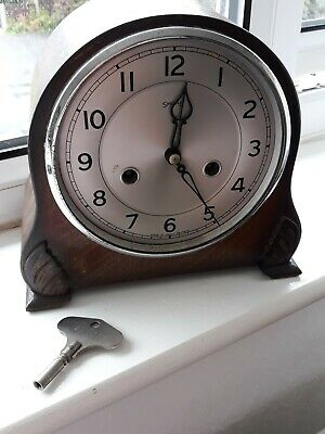 Antique Smiths of  Enfield Clock  for parts , brass movements, key and pendulum.
