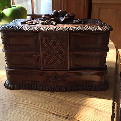 Wooden Carved Black Forest Jewellery Box With Swing Shelves C.1900