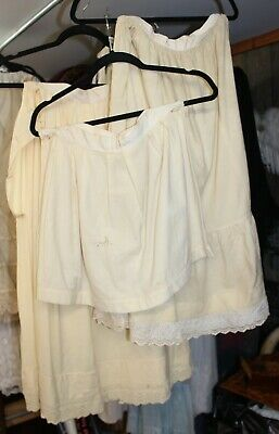 3 Antique 19th Century Victorian White Ivory Wool & Lace Skirts As Found Study