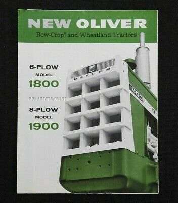 """1962 """"New Oliver 6-Plow 1800 8-Plow 1900 Tractor"""" Catalog Brochure Very Nice"""