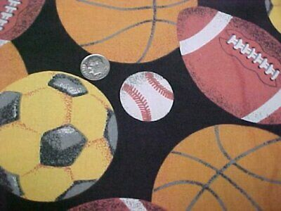 Vintage Cotton Quilt Fabric Quilters Material Sew Sports Football Basketball
