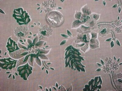 "3 3/4 Yd Cotton Quilt Fabric Vintage Look Green Taupe 44"" Wide Material Ozark"