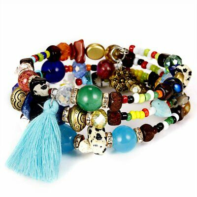 New Fashion Boho Multilayer Natural Stone Crystal Bangle Beaded Bracelet Jewelry