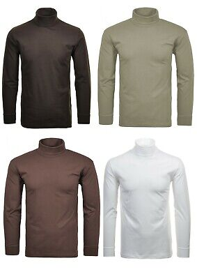 Mens Heavy Winter- Cotton Turtleneck Roll Polo Ribbed Neck - Cuff - Ski Golf Top