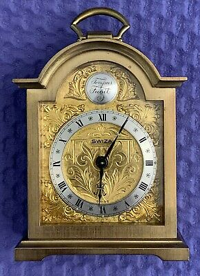 Vintage Antique Swiza Tempus Fugit 8 Brass Miniature Carriage Mantel Alarm Clock