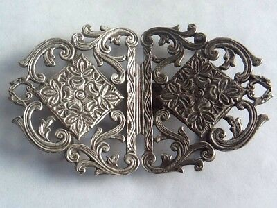 Lovely Antique Silver Plated Nurses Buckle With Floral Rococo Design