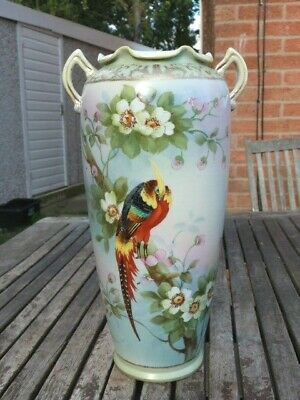 STUNNING ANTIQUE VINTAGE JAPANESE HAND PAINTED PORCELAIN VASE BY IE & C & Co