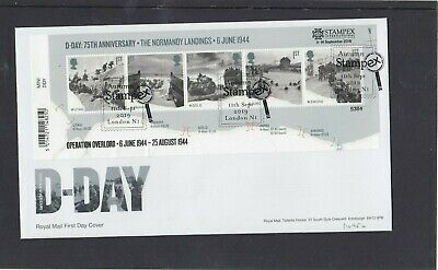 GB 2019 D Day MS  overprinted STAMPEX Operation Overlord FDC Stampex special pmk
