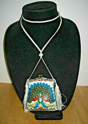 "Exquisite Antique Chinese Cloisonne Peacock Purse Necklace Tassels 3 3/4"" x 3.5"""