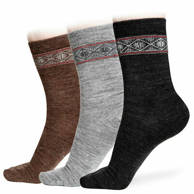 Alpaca Wool Socks 3X PAIRS for Women with Pattern - Casual & Warm Grade A Wool