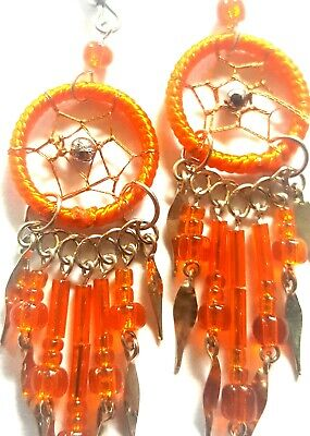 "Dream Catcher Earrings-Alpaca Silver-Beautiful 1/2""Dia! Orange Lovers Gorgeous ❤"