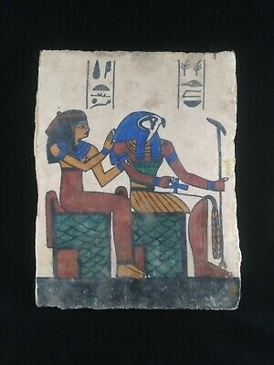 Ancient Egyptian Antiquities board of God Hours and Isis  (2686–2181BC)