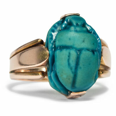 Rare Ring Made of Gold with Old Egyptian Faience Scarab
