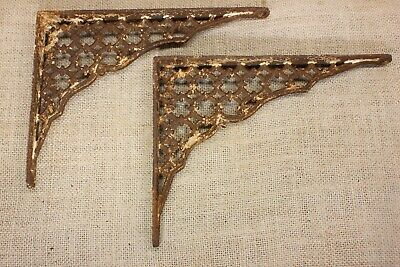 "2 Shelf supports brackets 6"" X 8"" vintage 1880's old rustic iron lattice shabby"