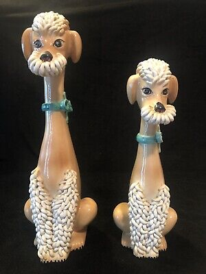 Pair Vintage Art Pottery Spaghetti Trim Poodle Statues Made in Italy