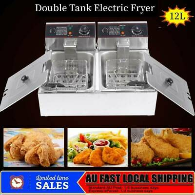 12L Electric Commercial Dual-sieve Deep Electric Fry Machine Stainless Steel AU