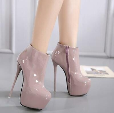 Sexy Womens Shiny Leather Platform Round Toe Super High Slim Heel Ankle Boots US