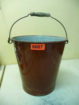 6007. Alter Emaille Email Eimer Old enamelware pot