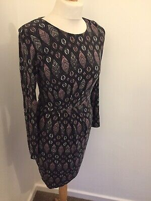 Lily and Me Dress Grey UK 8 Autumn Winter Casual Stretch Knee Length Long Sleeve