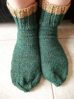 Hand knitted wool blend socks, men's or women's, forest green heather