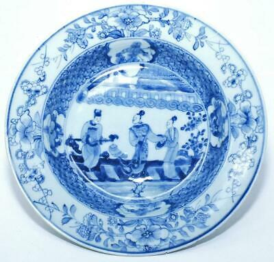 "WELL PAINTED 18th c CHINESE EXPORT BLUE & WHITE  SOUP PLATE  9"" (23cm)"