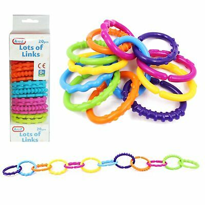 Baby Educational Toys - 20 Piece Colourful Lots of Links - Age 0 Months +
