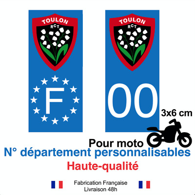 Stickers autocollant plaque d'immatriculation RCT TOULON moto BLEU RUGBY