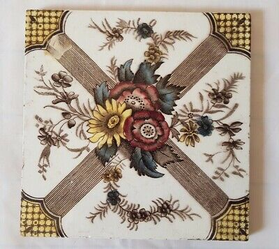 ARTS & CRAFTS english FLORAL THEME  6 INCH TILE
