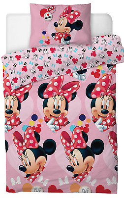 New Disney Minnie Mouse Single Duvet Quilt Cover Set Girls Pink Bedroom Gift