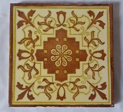 Elegant 19Th Century Symmetrical Design 6 Inch Tile