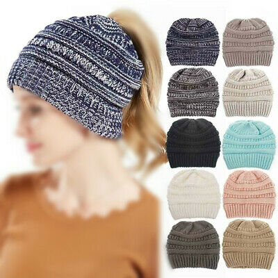Winter Hat for Women Wool Knitted Hat Ponytail Cap Stretchy Warm Hat Beanie Hot