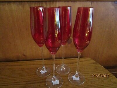 Rona Red Crystal Champagne Flutes Set Of 4 Slovakia