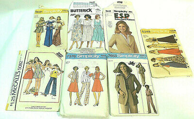 LOT of 7 Vintage 1970s 1 80's Sewing Patterns Butterick/McCall's/Simplicity