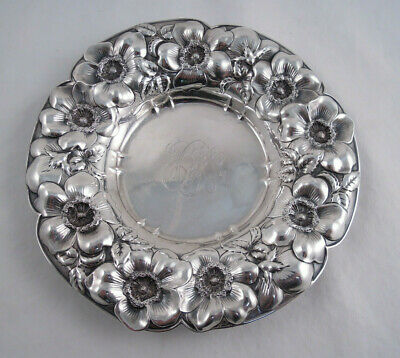 Whiting Sterling Silver Dish Or Bottle Coaster Floral Art Nouveau