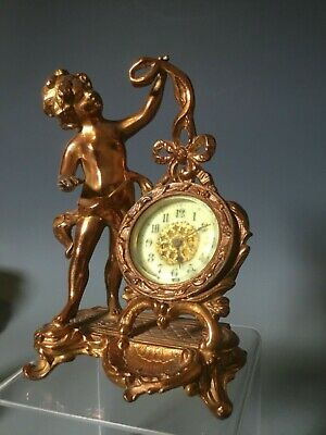 New Haven Clock Co. Antique Putti / Cherub Desk Boudoir Statue Clock Art Deco
