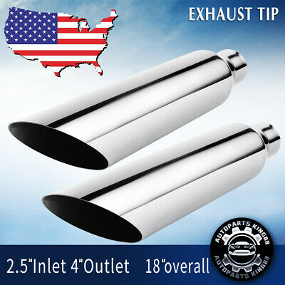 """Pair Bolt-on Diesel Exhaust Tips 2.5"""" Inlet 4"""" Outlet Tail Pipe Stainless Steel"""