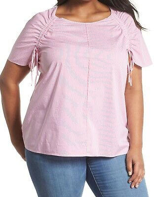 Sejour NORDSTROM Drawstring White Striped Pink Size 2X Plus Knit Top $79 #645