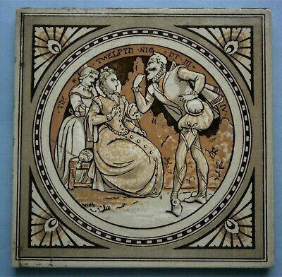"Minton Tile ""TWELFTH NIGHT"" from William Shakespeare designed by John Moyr Smith"