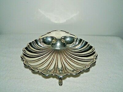 Crescent Silverware Mfg Co Silver Plate Clam Shell Serving Dish Dolphin Feet