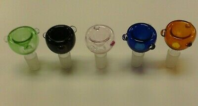 """Set of 5 Round Colored Glass Bowls Slide Smoking Water Pipe 14mm Male Joint 2"""""""