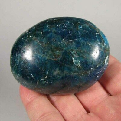 "2.7"" Blue APATITE Crystal Polished Palm Stone - Madagascar"