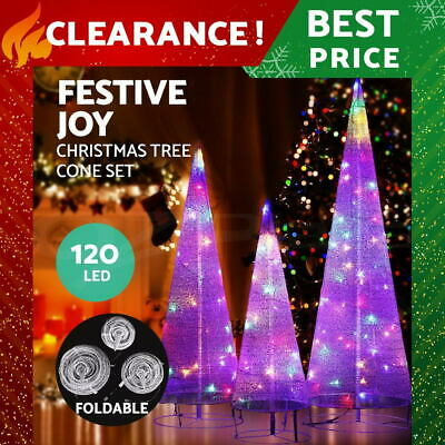 Christmas Lights Motif Foldable Cone Set 120 LED Outdoor Decorations Display