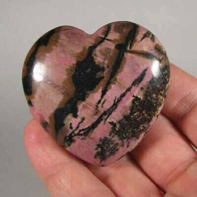 "2.1"" Pink RHODONITE HEART Polished Crystal Palm Stone - India"