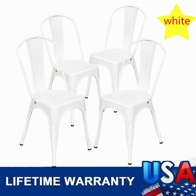 4PCS Industrial Style Dining Side Chair Arm Chairs Metal Dining Side Chair
