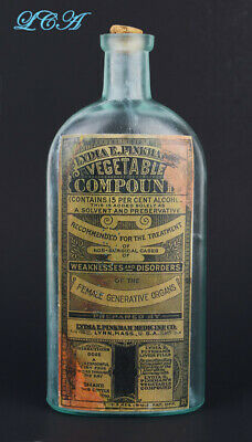 Scarce LYDIA PINKHAM antique bottle for FEMALE Complaints BIM 1800s w/copy label