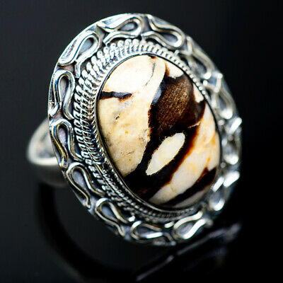 Large Peanut Wood Jasper 925 Sterling Silver Ring Size 8.25 Jewelry R970897F