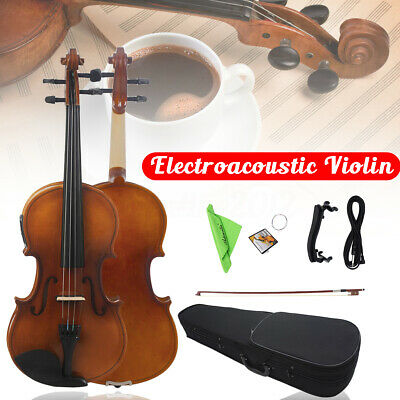 Astonvilla Wooden 4/4 Full Size Electro-Acoustic Violin Fiddle With Case Bow Set