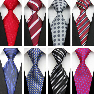 Grey Black Red Blue White Purple Wedding Stripe Plaid Necktie Silk Men Tie #
