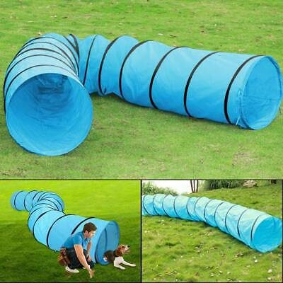 New Pet Tunnel Puppy Dog Agility Training 5.5M Outdoor Run Exercise Playing Blue
